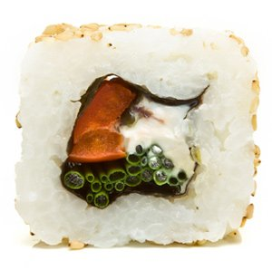 Making inside out sushi rolls
