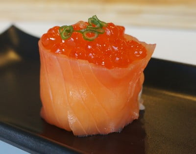 Smoked salmon Gunkan Sushi with Tobiko